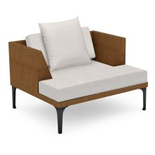 "42"" Outdoor Tan Rattan Single Sofa Lounger, Upholstered in COM"