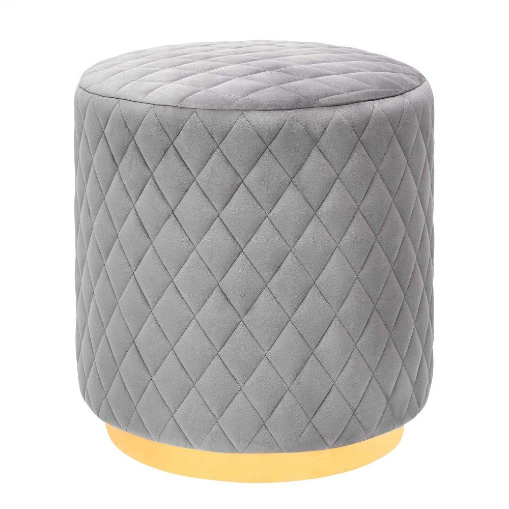 Abir Grey Velvet Ottoman