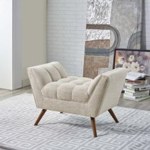 Response Upholstered Fabric Ottoman in Beige