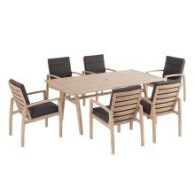 Maddie Karri Gum FSC KD Dining Arm Chair w/ Sunbrella Cast Ash cushion