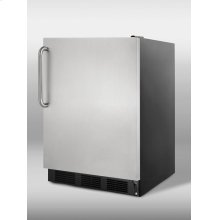 Commercial frost-free built-in freezer in black with stainless steel door and TB handle