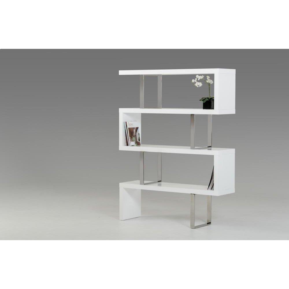 Modrest Maze Modern White High Gloss Bookcase