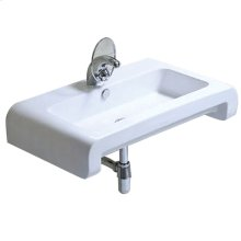 Isabella Collection rectangular wall mount basin with overflow, single faucet hole and a rear center drain.