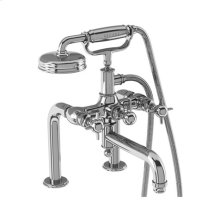 Arcade Exposed Deck-mount Bathtub Faucet with Handshower and Cross Handles - Polished Chrome