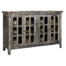 Bengal Manor Acacia Wood 4 Door Window Pane Cabinet