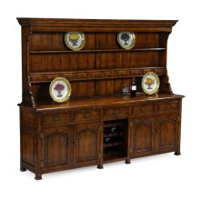 Large Walnut Welsh Dresser with Wine Rack