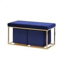 Ec, S/3 Blue/gold Velveteen Bench/stools Kd