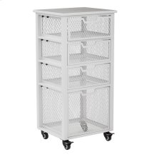Clayton 4 Drawer Rolling Cart In White Metal Finish Frame, Fully Assembled.