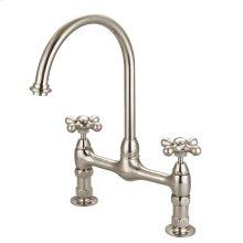 Harding Kitchen Bridge Faucet with Metal Cross Handles - Brushed Nickel
