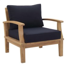 Marina Outdoor Patio Teak Armchair in Natual Navy