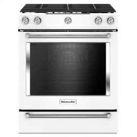 30-Inch 5-Burner Gas Slide-In Convection Range - White