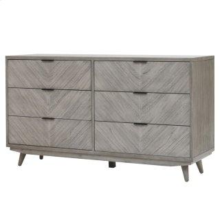 Piero Chevron Dresser with 6 Drawers, Weathered Gray