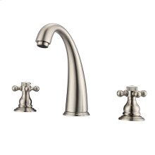 Maddox Widespread Lavatory Faucet with Button Cross Handles - Brushed Nickel