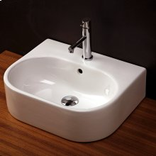 "Wall-mount or above-counter porcelain Bathroom Sink with an overflow and three faucet holes in 8"" spread, 19 3/4""W x 15 3/4""D x 6""H"
