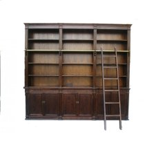 Brown Large Bookcase with Ladder