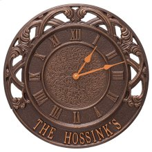 """Chateau 16"""" Personalized Indoor Outdoor Wall Clock - Antique Copper"""