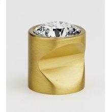 Contemporary Crystal Knob C824-1 - Satin Brass
