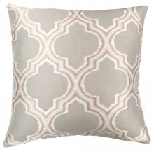 Aria Contemporary Decorative Feather and Down Throw Pillow In Dove Jacquard Fabric