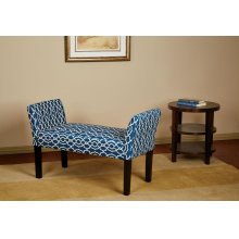 Kelsey Bench With Dark Espresso Legs and Abby Geo Blue Fabric