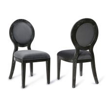 Cerused Oak Grey Chair-Set of 2