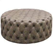 FRANKLIN OTTOMAN  Tufted Distressed Gray Faux Leather on Wood Frame
