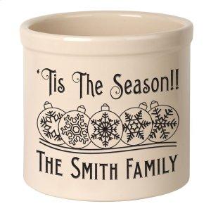 Personalized Snowflake Ornament 2 Gallon Stoneware Crock - Black Engraving / Bristol Crock Product Image
