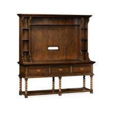 Dark Walnut Welsh Dresser Style TV Cabinet