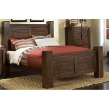 6/6 King Post Headboard - Mesquite Pine Finish