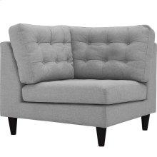 Empress Upholstered Fabric Corner Sofa in Light Gray