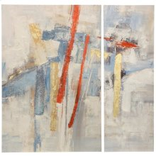 Modern Strokes Set of 2 Contemporary Hand Embellished Prints on Canvas