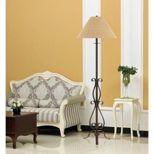 150W 3 Way Ekalaka Wrough Iron Floor Lamp With Burlap Shade