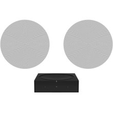 Black- A pair of architectural speakers and a powerful amplifier for ambient listening.