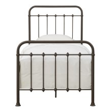 Twin Curved Metal Bed in Brown