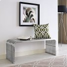 """Pipe 47"""" Stainless Steel Bench in Silver Product Image"""