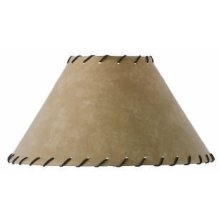 Parchment Lampshade with Leather Trim 15 inch