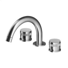 Widespread three hole faucet with finely machined handles.