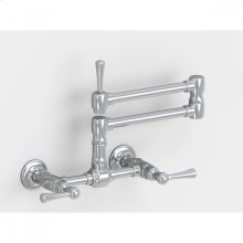 """Brushed Stainless - Wall Mount 17 3/4"""" Articulated Dual Swivel Spout with Metal Lever"""