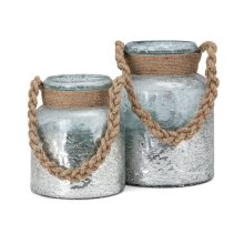 Roald Lanterns with Braided Rope Handle - Set of 2
