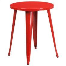 "Commercial Grade 24"" Round Red Metal Indoor-Outdoor Table"