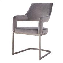 Raquel KD Velvet Fabric Chair Silver Legs, Gravel Gray