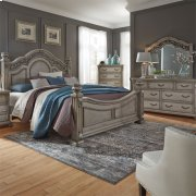 King Poster Bed, Dresser & Mirror, Chest Product Image