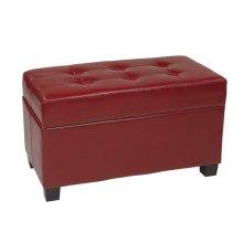 Crimson Red Faux Leather Storage Ottoman