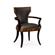 Art Deco High Lustre Santos Armchair, Upholstered in Dark Chocolate Leather