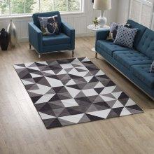 Kahula Geometric Triangle Mosaic 5x8 Area Rug in Black, Gray and White