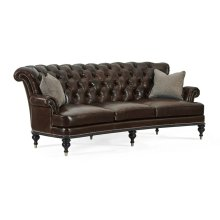 "101"" Madison Tufted Three-Seat Sofa, Upholstered in Crystal Leather"