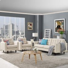 Empress Sofa and Armchairs Set of 3 in Beige