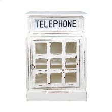 CC-CAB064SOLD-WW  English Phone Booth End Table  Distressed  White