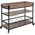 Buckhead Distressed Light Oak Wood and Iron Kitchen Serving and Bar Cart with Wine Glass Holders Product Image