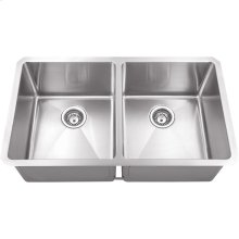 "Stainless Steel (16 Gauge) Fabricated Kitchen Sink with Two Equal Bowls. 304 SS with Satin Finish. Overall Measurements: 32"" x 19"" x 10-3/8"""