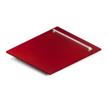 "24"" Dishwasher Panel in Red Gloss with Traditional Handle (DP-RG-24)"